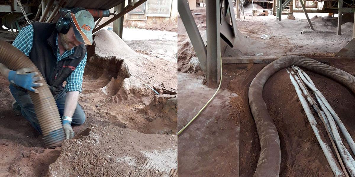 Reinigung einer Sand-Siebanlage